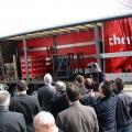 Impression auf der Lasi-Expo von 3G in 2012 - Vorführung korrekter Ladungssicherung auf einem Auflieger